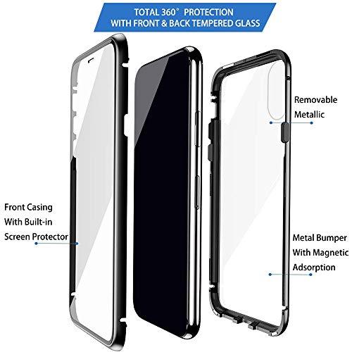 Eabhulie Huawei Honor View 20 Hülle, Vollbildabdeckung Gehärtetem Glas mit Magnetischer Adsorptionskasten Metall Rahmen 360 Grad Komplett Schutzhülle für Huawei Honor View 20 Schwarz - 4