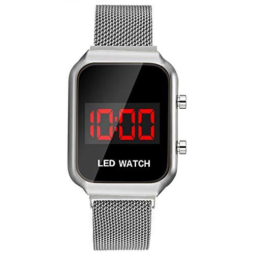 Powzz ornament Reloj de pulsera electrónico deportivo para estudiantes, aleación cuadrada con hebilla magnética plateada.