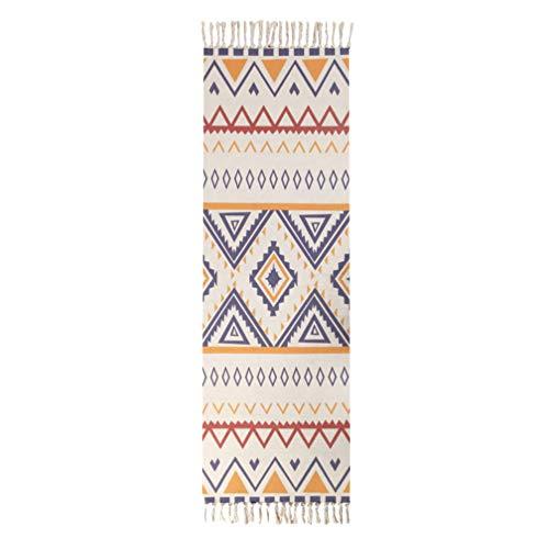 Review Of LIOOBO Bohemian Floor Mat Cotton Rug Runner for Home Bedroom Living Room Random Style