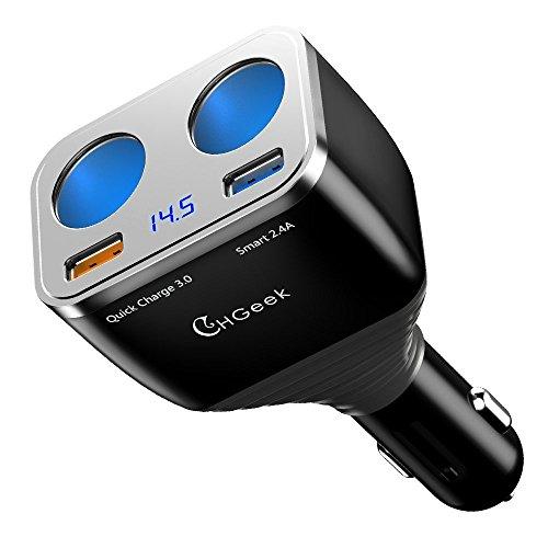 CHGeek 12/24V Auto Ladegerät 80W USB KFZ Multi-Ladegerät Power Auto Adapter mit 2-Socket Zigarettenanzünder Verteiler+3A Schnellladung 3.0+Smart 2.4A USB Port für GPS, Dashcam und Mehr - CH08