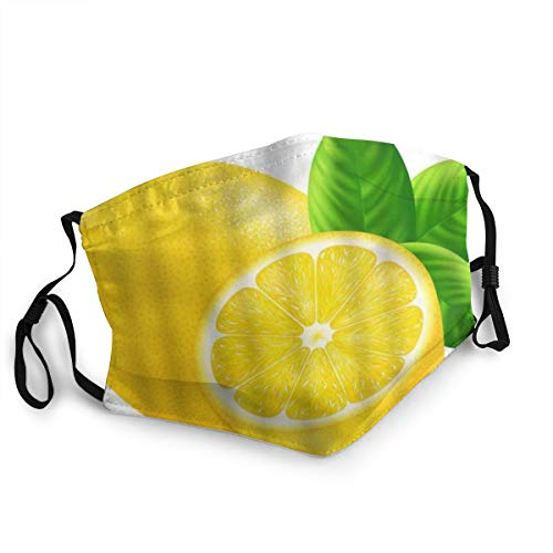 ZOMOY Face Cover,Lemon Leaves Natural Product Farmers Market Food Fragrant Fruit Fresh Vitamin,Balaclava Unisex Reusable Windproof Anti Dust Mouth Bandanas Outdoor Camping Motorcycle Running