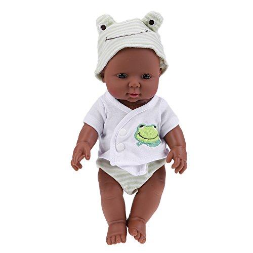 Broadroot 30 cm Neugeborenen Reborn Puppe Afrikanische Puppe Baby Simulation Weichen Vinyl Kindergarten Kinder Lebensechte Spielzeug Früherziehung Geschenk (01)