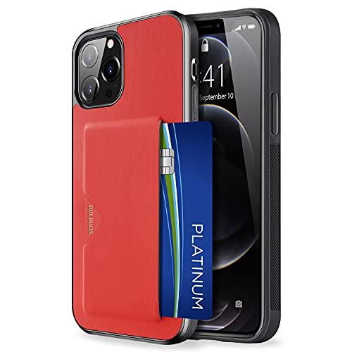 【背面カード収納付】 iPhone 13 Pro ケース カード収納 上質な手触り アイフォン 13 プロ カバー 耐衝撃 軽量 薄い ICカード収納 OWLGuardian スマホケース (iPhone 13 Pro レッド)