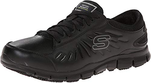 Skechers womens Eldred - Relaxed Fit health care and food service shoes, Black, 5.5 US
