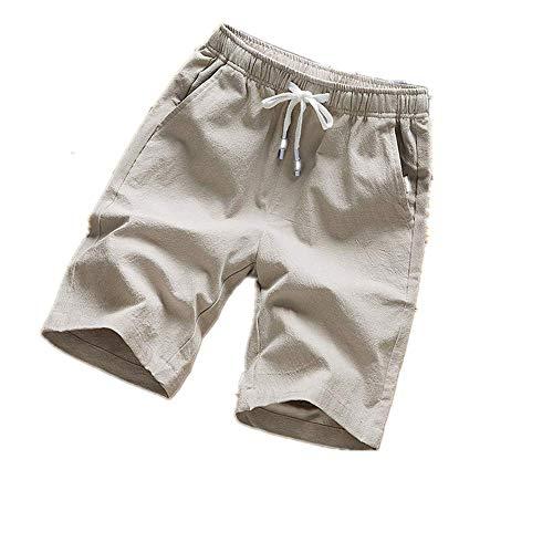 N \P Verano caliente pantalones cortos de los hombres de color sólido de lino pantalones cortos de los hombres de verano suelto transpirable casual pantalones cortos de playa de gran tamaño 5XL