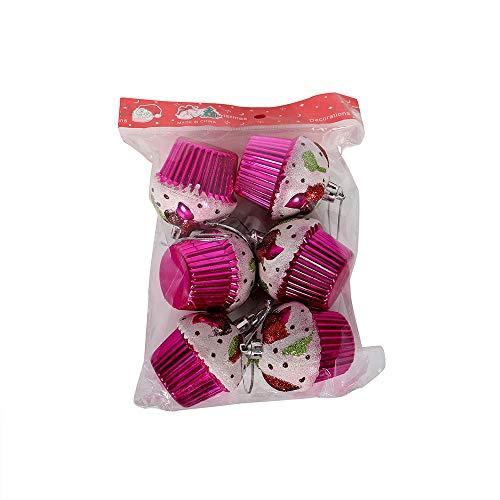 FeiliandaJJ 6Pcs Weihnachtsbaum Anhänger Cupcake Christbaumschmuck Party Hochzeit Haus Dekoration Feiertags Geschenke (Rosa)