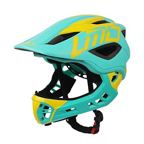 Kinderfiets Full Face Helm, Verstelbare Veiligheid Bescherming Skateboard Helmen met Achterlicht - voor Skateboarden/Fietsen/Rolschaatsen