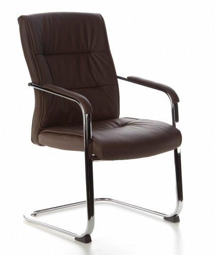 hjh OFFICE Buerostuhl24 668762 Konferenzstuhl/Besucherstuhl Triton V Leder 2-er Pack / 2 Stühle, Dunkelbraun