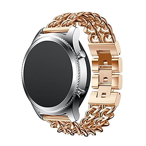 Reloj de reloj para Samsung Gear S3 Brazalete de acero inoxidable para Galaxy Watch 3 Correa Cinturón de metal (Band Color : Rose golden, Band Width : 22mm)