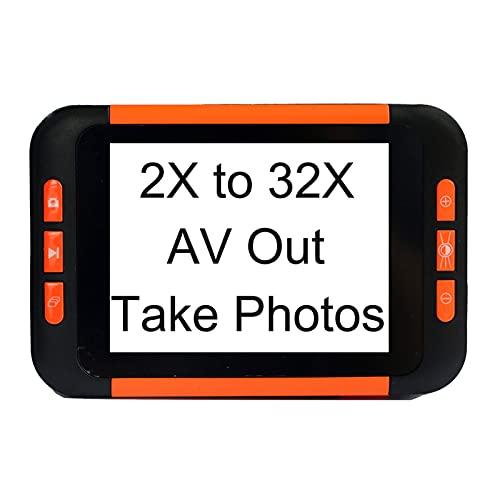 QFFL Lupa Digital de Baja Visión, Pantalla LCD de 3,5 Pulgadas Ayuda de Lectura Electrónica, Zoom 2-32X, Soporte de Salida de TV, para Leer, Escribir y Ver Mapas