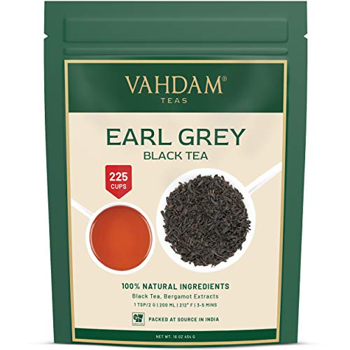 Earl Grey Citrus Black Tea (200 + tasses), thé noir mélangé avec de L'huile de bergamote, scellé sous vide pour la fraîcheur, infusion chaude ou glacée, 500gm (17.63 oz)