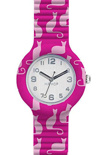 Hip Hop Watches - Orologio da Donna Hip Hop Cat HWU0798 - Collezione Animals Addicted - Cinturino in Silicone - Cassa 32mm - Impermeabile - Rosa