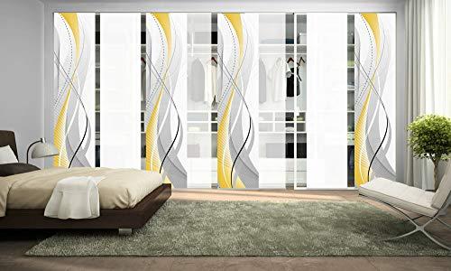 wohnfuehlidee 8er-Set Schiebegardine WuXi, Blickdicht, Höhe 245 cm, gelb