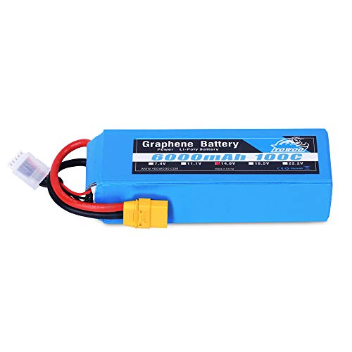 YOWOO 4S Lipo Battery 6000mAh 100C 14.8V Graphene Batteries Pack with XT90 Plug for 1/8 Scale Electric RC Buggy Truggy Crawler Monster Off-Road Car Boat Truck Helicopter Airplane