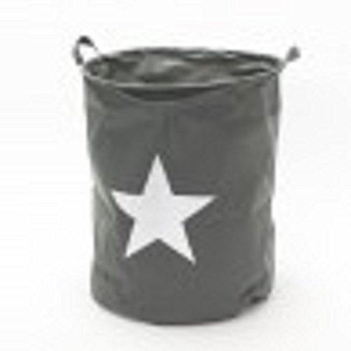 Bavaria Wäschesack Stars - Stern - Sterne - Wäschekorb Wäschebox (grau mit weissen Stern)