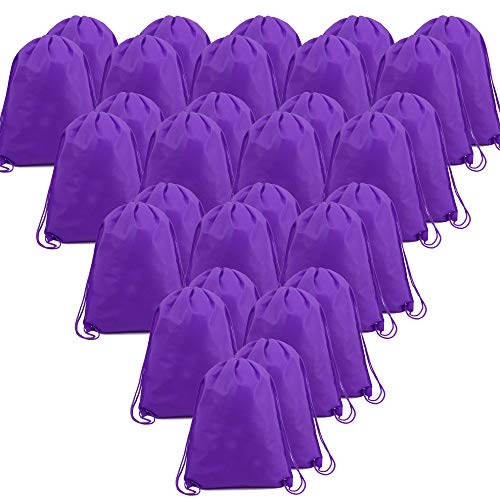 BeeGreen Purple 30 Pack Bulk Drawstring Bags for Gym Sport Storage 13.5 x 16-Inch Large Drawstring Backpacks Gym Sack Sports Sackpack Men Women Teens