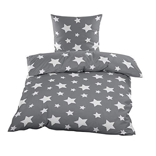 Bettwäsche Microfaser Fleece Sterne Grau Weiss Flausch Taupe, Thermofleece 2tlg. Bettwäsche Set Bettbezug 135x200cm und Kissenbezug 80x80cm