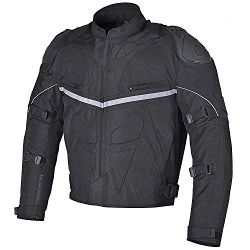 Men WaterProof Motorcycle Textile Jacket with Dual Protection System Black and CE Armor Pre-installed (L)