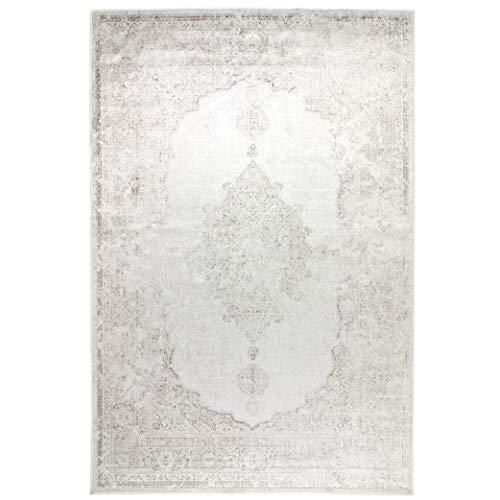 havatex Kunstseide Teppich Vintage Ornament - Anthrazit oder Silber | klassisches Muster modern interpretiert | Ultra leicht, flach & Soft mit edlem Seidenglanz, Farbe:Silber, Größe:120 x 170 cm