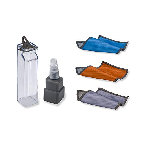 Carson Clip n'Clean All-in-One Cleaning Kit with Cleaning Spray, Microfiber Cloth and Protective Case - Random Color - Orange, Grey or Blue (MF-50)