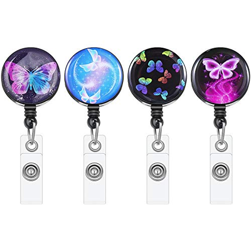 Sepamoon 4 Pieces Retractable Badge Reels Butterfly Flower Floral Star ID Badge Holder Nursing Name Badge Reel with Alligator Clip Decorative ID Card Holder (Butterfly Style)