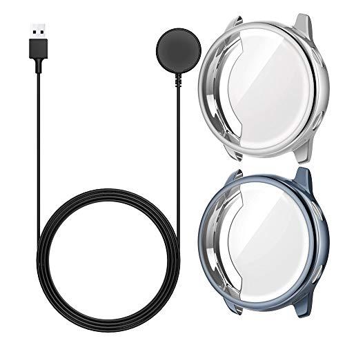 MoKo [2 PZS] Funda Protectora de Cargador Compatible con Samsung Galaxy Watch Active 40MM SM-R500, Adaptador de Soporte de Carga de Reemplazo Magnético Portátil con USB Cable - Gunmetal & Silver