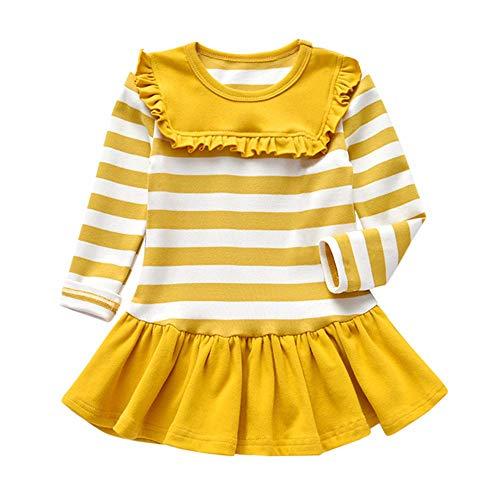 Moneycom❤Toddler Kid bebé niña manga larga larga rayas rayas fiesta princesas Dress Tops Junp vestido cumpleaños tul chic ceremonia boda amarillo 2-3 Años