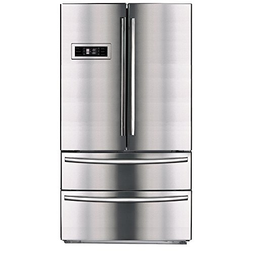 SMETA Upright Counter Depth Refrigerator 36'' French Door Bottom Freezer with Automatic Ice Maker, 20.7 cu ft, Stainless Steel