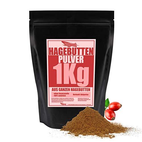 NUTRI UP Hagebuttenpulver 1KG | aus ganzen Hagebutten | Rohkostqualität, 100% natürlich -ohne Zusatzstoffe- Zuckerfrei, schonend gemahlen