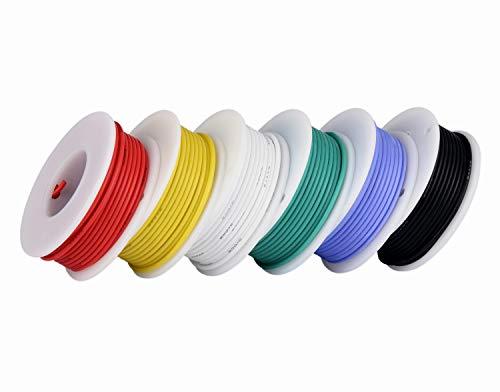 Cable electrónico de calibre 20,Cable flexible de silicona 20 AWG (6 carretes...