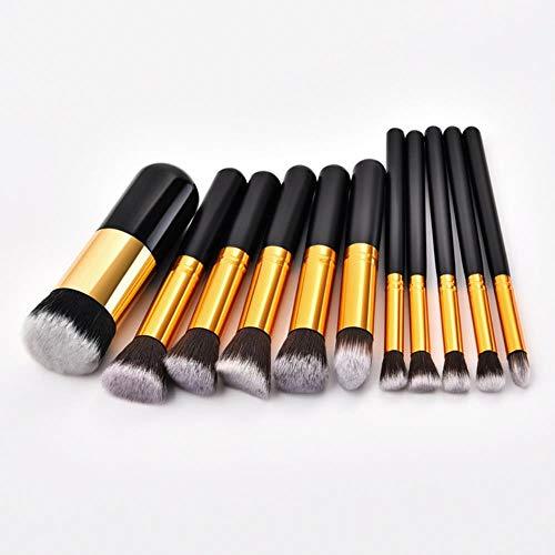 QWK Maquillage Pinceau Ensemble cosmétique Fond de Teint Poudre Mixte Blush Outils de Maquillage féminin, 11 pcs Noir