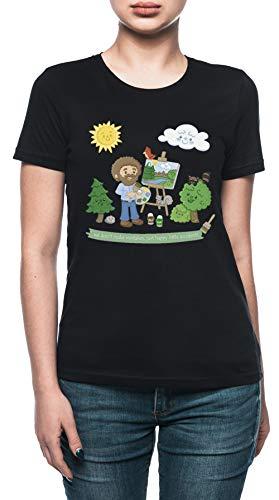glücklich Wenig Bäume - Bob Ross Damen T-Shirt Schwarz