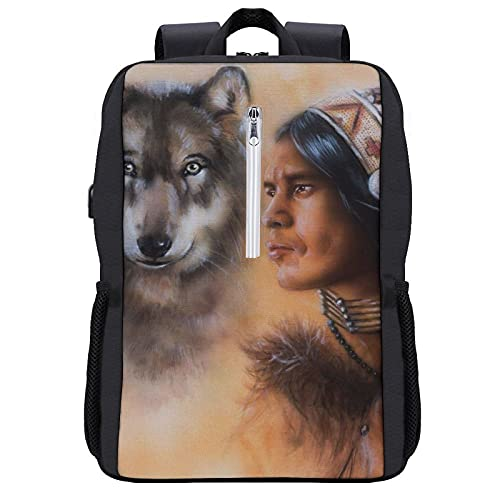 Travel Laptop Backpack,Native American Blur Mystic Painting Of Young Native Man Ethnic Feather With Wolves Ancient,Business Anti Theft Computer Bag Slim Durable with USB Charging Port
