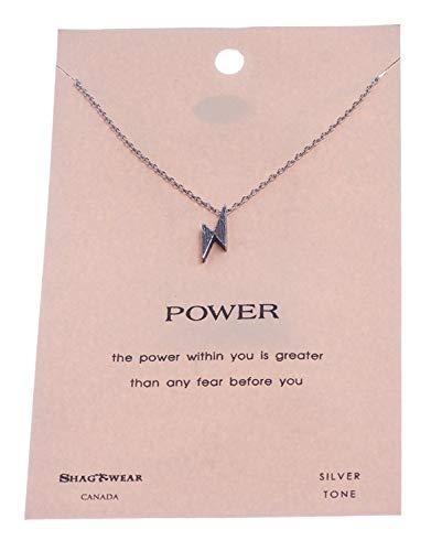 SHAG WEAR Inspirational Quote Pendant Necklace (Lightning Bolt Pendant)