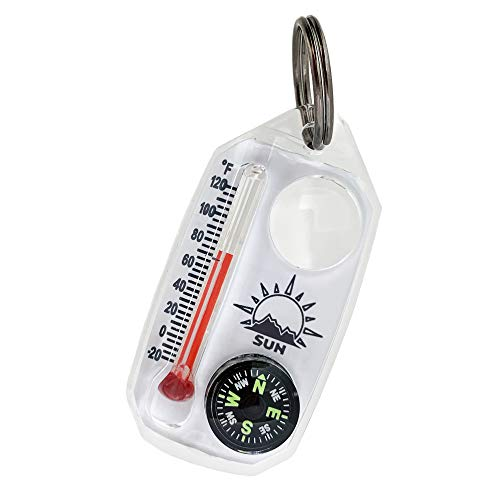 Sun Company TripleGage - Zipper Pull Compass, Thermometer, and Magnifying Glass