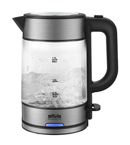 Silva-Homeline KL-G 2006 Glas-Wasserkocher, 2.200 W, 1.7 l, Betriebsbeleuchtung, 360°C central-cordless-system, Inox