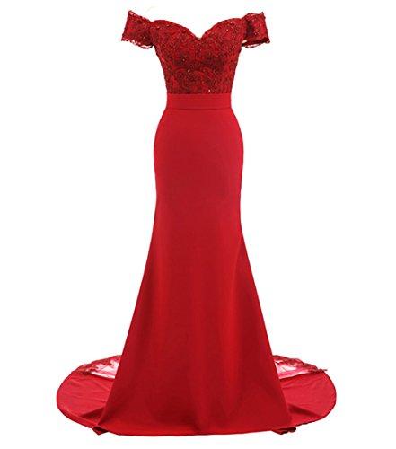 LoveeToo Damen Mermaid Abendkleid Spitze Formal Partykleid Aus der Schulter Lange Hochzeitskleid Brautjunfernkleid(EUR38,Rot)