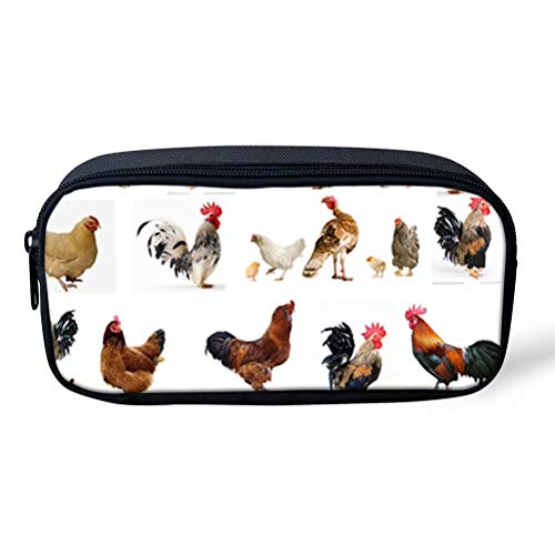 AFPANQZ Pencil Case Organizer for Boys Kids Girls Mens Women Funny Chickens Pattern Large Pen Case Coin Purse for Children Student White Portable Organizer Pencil Box Storage