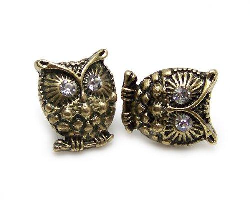 Vintage Cute Crystal Eye Bronze Owl Stud Earrings Jewelry Retro Diamante