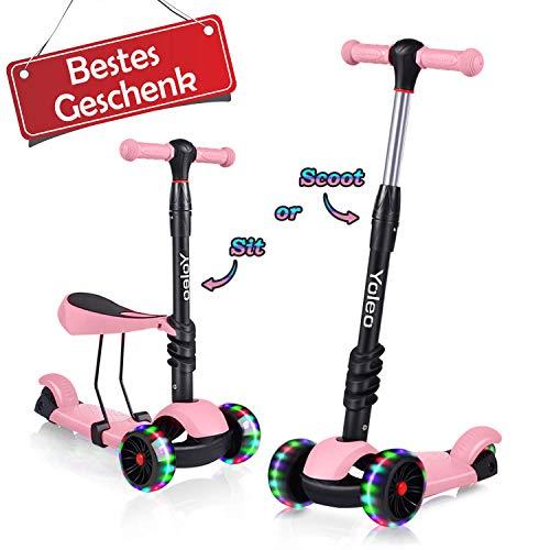 Yoleo 3-in-1 Kinder Roller Scooter mit Abnehmbarem Sitz, LED große Räder, Höheverstellbare Lenker für Kleinkinder Jungen Mädchen ab 2 Jahre(Rosa 1)