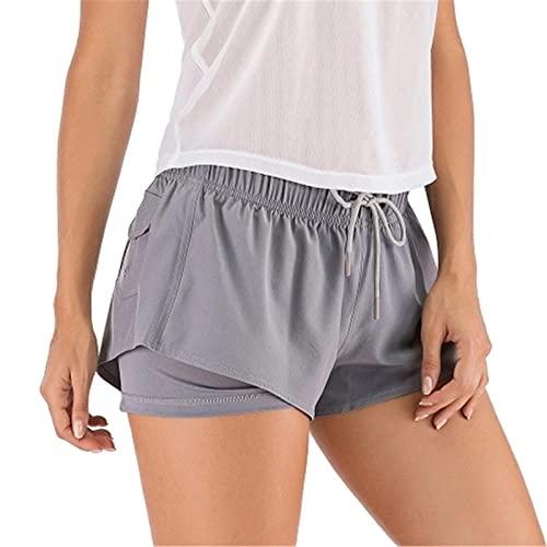 Shorts de Deporte Mujer Mujeres 2-en-1 Pantalones Cortos de Deporte Cintura elástica Pocket Pocket Color Sólido Entrenamiento Running Gym Gym Yoga Shorts para Running Gym (Color : Gris, Size : M)