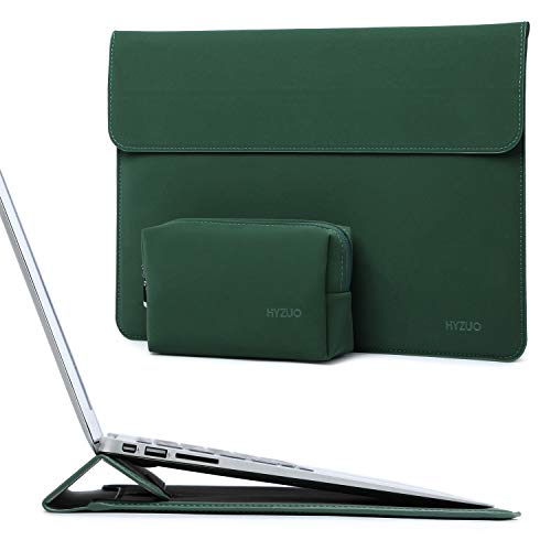 HYZUO 15-16 Inch Laptop Sleeve Case Cover with Stand Feature Compatible with 2019 2020 New Macbook Pro 16 A2141/ Surface Laptop 3 15 Inch/ 2012-2015 Macbook Pro 15 A1398/ Dell XPS 15, Midnight Green