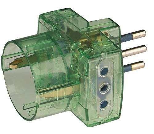 Poly Pool pp0467.8s voeding drievoudige stekker klein en 2 stopcontacten 10 A en 1 bus standaard Duits, transparant groen