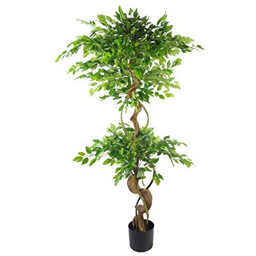 Orquídea Artificial de Hojas, Ficus Grande retorcido, 150cm (5ft)