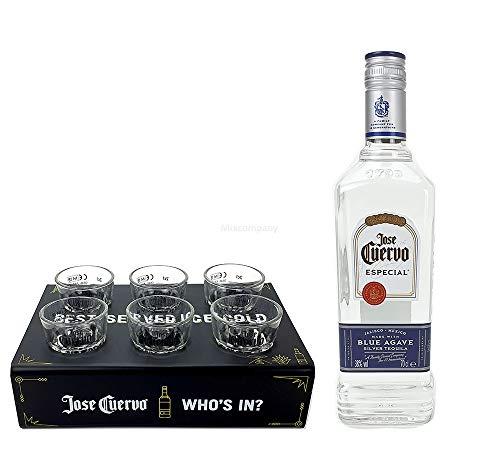 Jose Cuervo Especial Silver 0,7l 700ml (38% Vol) + 6x Shot Glas + Shotglashalter - Whos in Jose Cuervo Halter - 6er Shot Gläser/Glas - [Enthält Sulfite]
