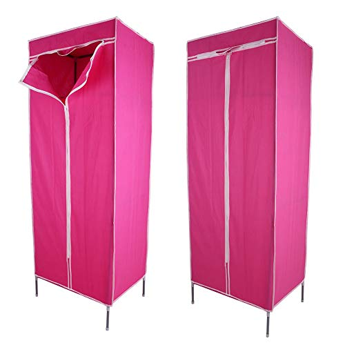 Canvas Cupboard, Canvas Wardrobe Single Fabric Clothes Wardrobe Shelves with Hanging Rail Storage Unit Single Dress Organiser Kid Bedroom Closet Cabinet Pink 43 x 58 x 156cm