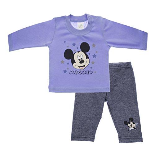 Mickey Mouse Zweiteiliges Set von Disney Baby WARM gefütterte Hose und Langarm-Shirt GRÖSSE 56 62 68 74 80 86 Freitzeitanzug Baumwolle kuschelig Farbe Modell 1, Größe 86