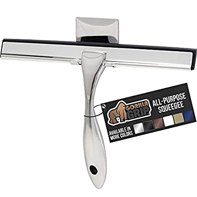 Gorilla Grip Premium Shower and Window Squeegee, 10 Inch, Includes Holder, Squeegees Easily Clean Bathroom Showers Door, Mirrors, Tile and Car Windows, Streak Free Shine, Durable Handle, Silver