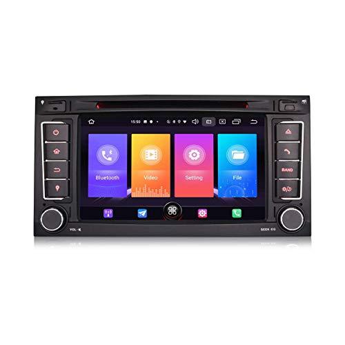 LYHY Car Navigator Android 10.0 7'Car Stereo Sat Nav para VW Touareg Transporter T5 Multivan V Soporte GPS Carplay Bluetooth WiFi SWC A2DP FM/Am Dab + DVB-T2 2GB RAM + 16GB ROM