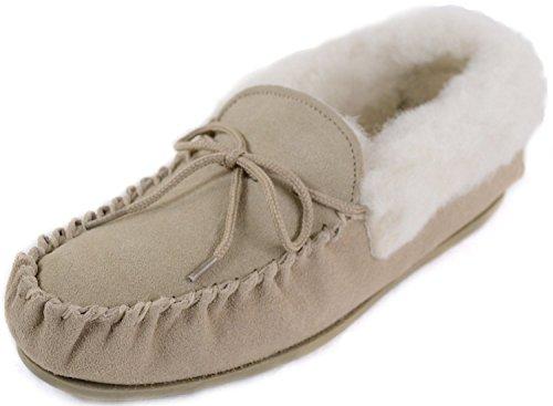Damen-Lammfell-Mokassins/Slipper mit fester Sohle, braun - camel - Größe: 42